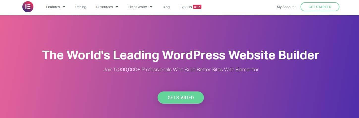 """The homepage of VisualComposer that reads, """"create your WordPress website today. Start Easy. Build fast."""""""